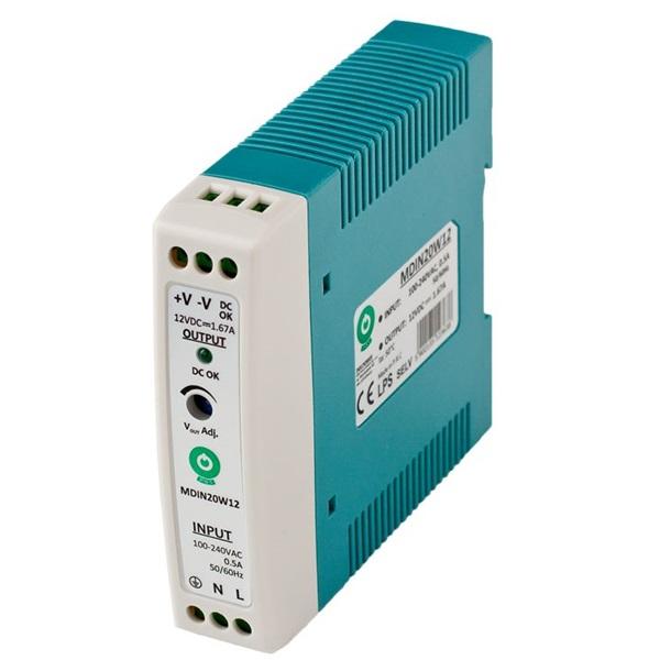 POS POWER MDIN20W12 12V/1.67A 20W DIN sínre szerelhető LED tápegység - 1