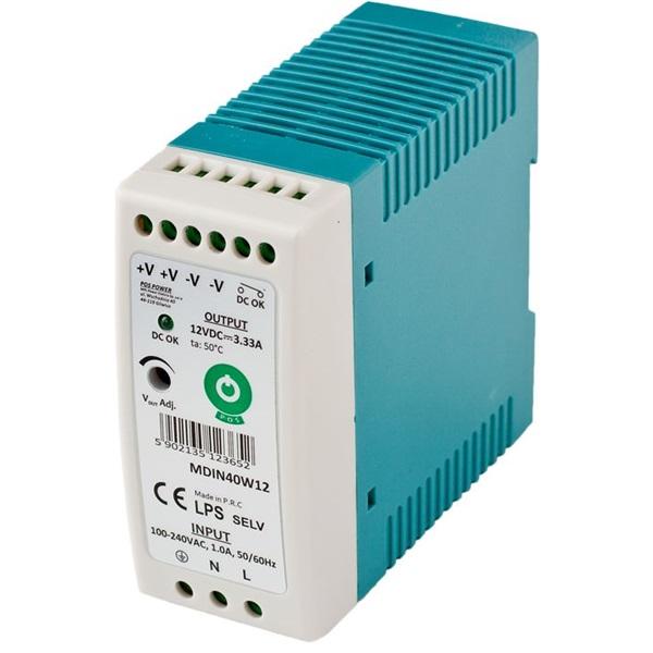 POS POWER MDIN40W12 12V/3,33A 40W DIN sínre szerelhető LED tápegység - 1