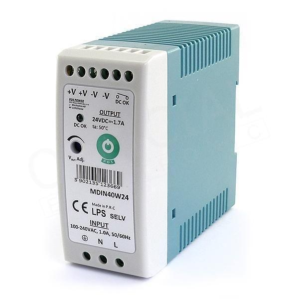 POS POWER MDIN40W24 24V/1,7A 40W DIN sínre szerelhető LED tápegység - 1
