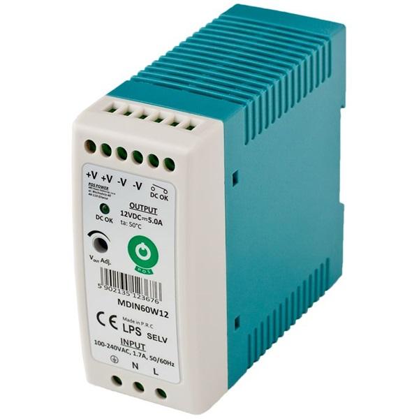 POS POWER MDIN60W12 12V/5A 60W DIN sínre szerelhető LED tápegység - 1