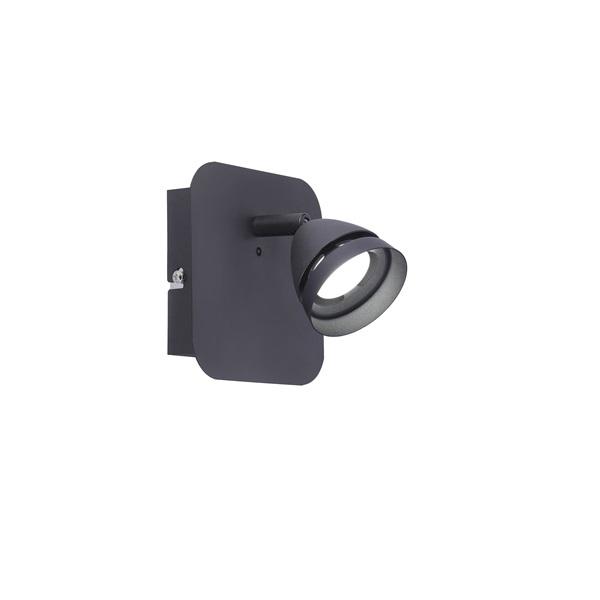 TRIO 850010132 Gemini fekete 1-es fali spot lámpa - 1